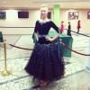 Эффектное платье стандарт на категорию Мол-Взр.  Черное с голубым.  Срочно.