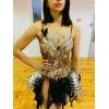 Бальное платье Латина с перьями