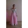 Продам бально-спортивное бело-розовое платье для стандарта с камнями,     размер 42,     рост 165-170
